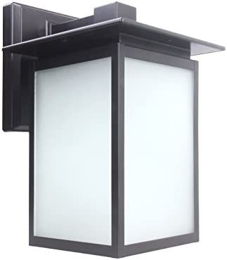 LIT-PaTH Outdoor LED Wall Lantern, Wall Sconce as Porch Lighting Fixture, 12.5W 125W Equivalent , 1250 Lumen, Aluminum Housing Plus Glass, Oil Rubbed Bronze, ETL and ES Qualified