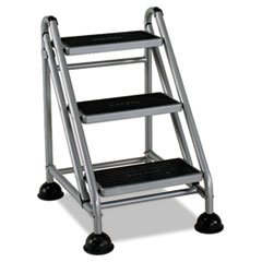 ** Rolling Commercial Step Stool, 3-Step, 26 3/5 Spread, Platinum/Black ** by 4COU
