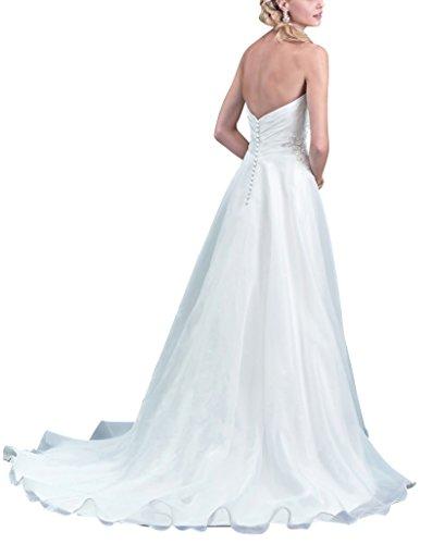 abito Organza una Bianco Senza linea da spalline GEORGE sposa BRIDE CwqYx1IB