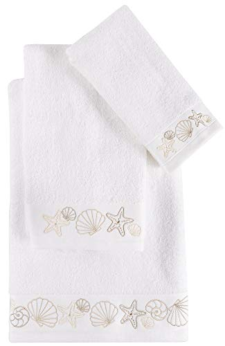 Coastal Home Embroidered Shell Mix Towel Collection Bath Towel White/Beige ()