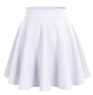 DRESSTELLS Women's Basic A-line Versatile Stretchy Flared Skater Skirt