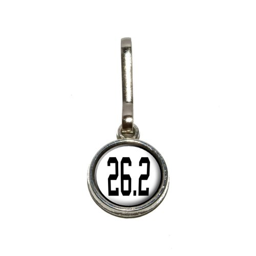 26.2 marathon - running jogging Antiqued Charm Clothes Purse Luggage Backpack Zipper Pull