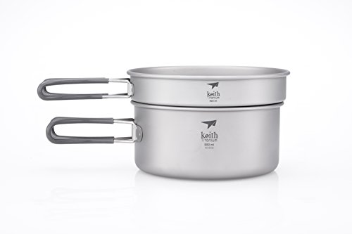 Titanium Cookset - Keith Titanium Ti6016 2-Piece Pot and Pan Cook Set - 1.55 L (Limited Time Promotion Price)