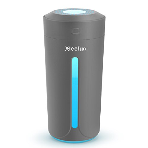 Cleefun Cool Mist Humidifier, Ultrasonic USB Portable Air Humidifiers Purifier for Cars Office Desk Home Bedroom, 230 Milliliter Mini Desktop Cup Humidifier With LED Night Light and No Noise(Gray) by Cleefun