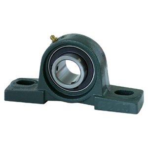 "UCP206-18 Pillow Block Mounted Bearing, 2 Bolt, 1-1/8"" Inside Diameter, Set screw Lock, Cast Iron, Inch"