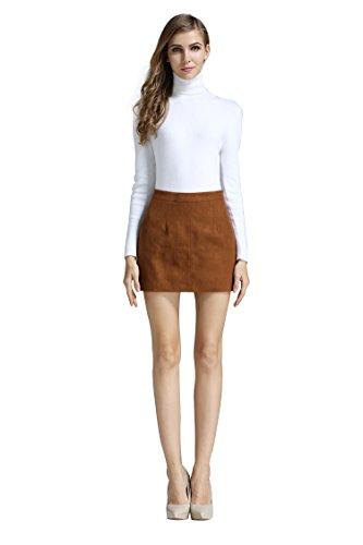 Little Smily Women's A-line High Waist Faux Suede Mini Skirt, Camel, M
