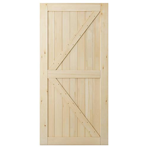 SmartStandard 42in x 84in Sliding Barn Wood Door Pre-Drilled Ready to Assemble, DIY Unfinished Solid Cypress Wood Panelled Slab, Interior Single Door Only, Natural, K-Frame (Fit 8FT Rail)