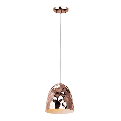 MAYKKE Encanto Pendant Light Modern Grooved Cylindrical Bell Hanging Ceiling Light Fixture for Kitchen, Living Room Copper Rose Gold Finish Polished Brass, ZSA1080101