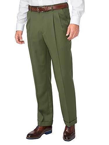 Paul Fredrick Men's Washable Wool Pleated Pant Olive 34