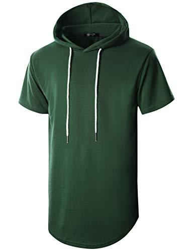 - GIVON Mens Hipster Simple Longline Lightweight Pullover Short Sleeve Hooded Shirt/DCF032-KHAKI-S