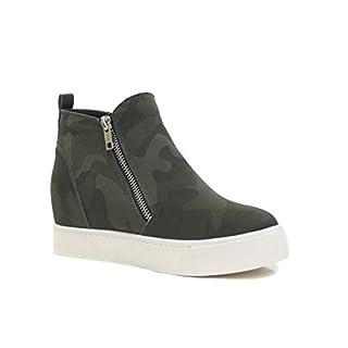 Soda Taylor Hidden Fahsion Wedge Sneaker Shoes Side Zipper Khaki Camouflage (6)