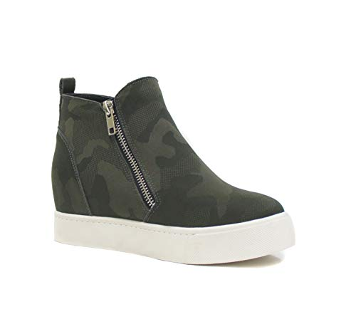 SODA Topshoe Avenue Taylor Hidden Wedge Booties Fahsion Sneaker Shoes Side Zipper (7 M US, Khaki Camouflage)