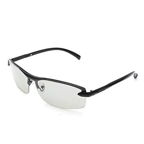 Hitommy UV400 Polarized Photochromic Sunglasses Men's Driving Transition Lens Grey Black - Black