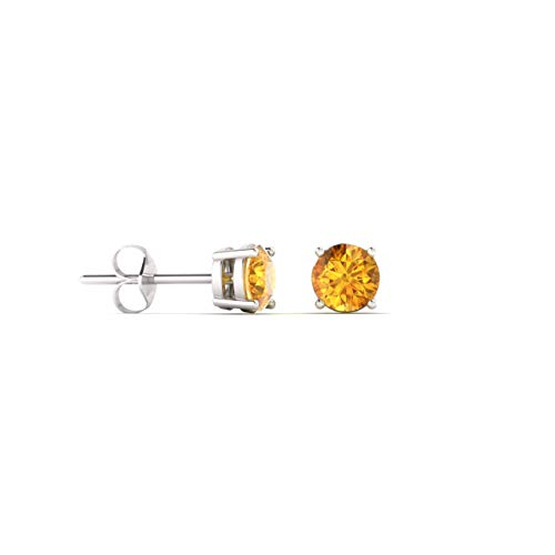 Diamondere Natural and Certified Citrine Solitaire Petite Stud Earrings in 14K White Gold | 0.20 Carat Earrings for Women
