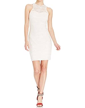 Guess Ivory Laced Women's Stretch Illusion Racer-Back Dress White Ivory 10