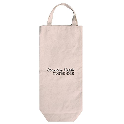 Canvas Wine Bag Tote With Handles Country Roads Take Me Home Style In Print