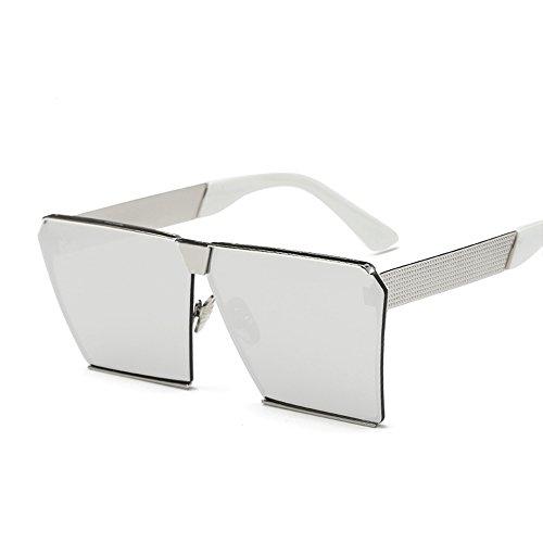 VeBrellen Unisex Gothic Oversized Sunglasses Square Retro Eyewear Metal Frame Goggles (Silver Frame With Silver Lens, 68)