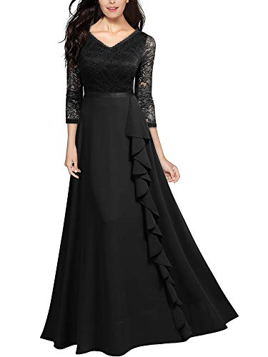 Miusol Women's Retro V Neck Floral Lace Bridesmaid Party Maxi Dress