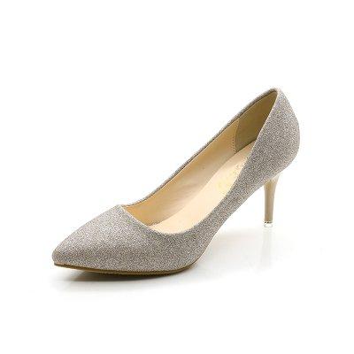 alto acompa de banquete fina Shoes del Heel boda plata el con Punta de gtn4qp77