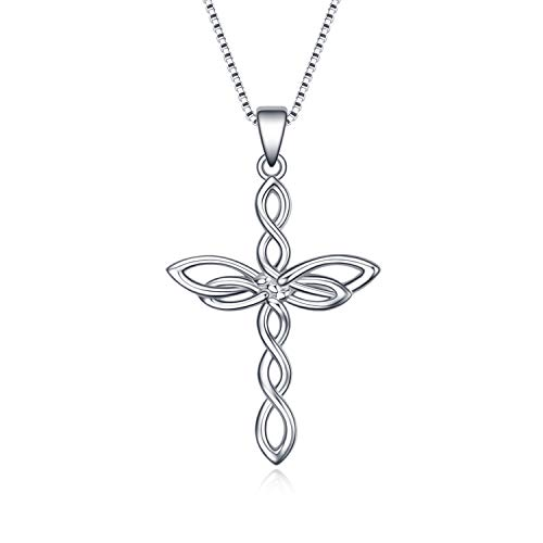 Celtic Knot Cross Necklace 925 Sterling Silver Polished Infinity Love Irish Celtic Necklace for Women Girls with Box Chain 18