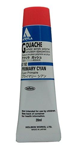 Holbein Acryla Gouache Artists Acrylic Polymer Emulsion, 20ml Primary Cyan (D192)
