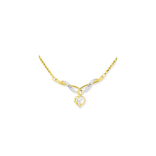 14kt 17 In Two Tone Yellow Gold Dangle Heart Link Rope Chain Necklace Inch Pendant Charm S/love Fashion Jewelry Gifts For Women For Her ()