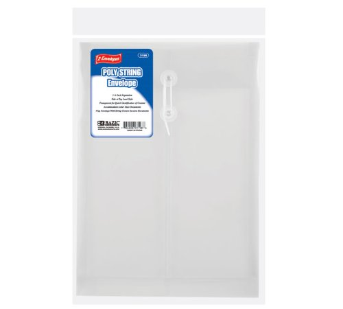 BAZIC Clear Top / Side Loading Letter Size String Envelope (2/Pack) (3198-144)