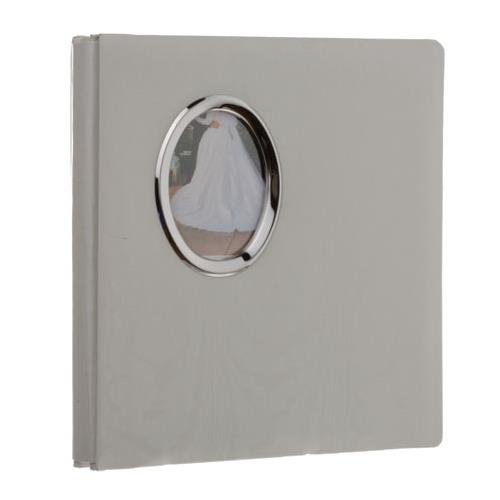 Pioneer Oval Framed Wedding Photo Album, Moire Fabric Cover with Gold or Silver Photo Frame, Holds 100 5x7