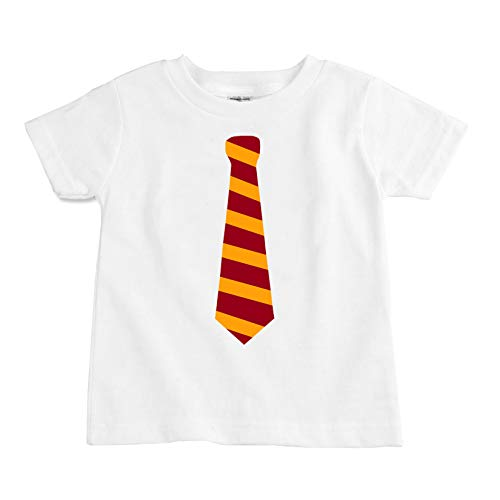 The Spunky Stork Garnet & Gold Neck Tie Organic Cotton Toddler T Shirt (3T) White ()