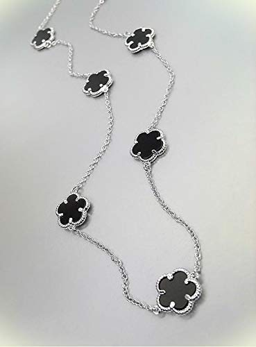 Exquisite Black Onyx Clover Clovers White Gold Plated Chain 18