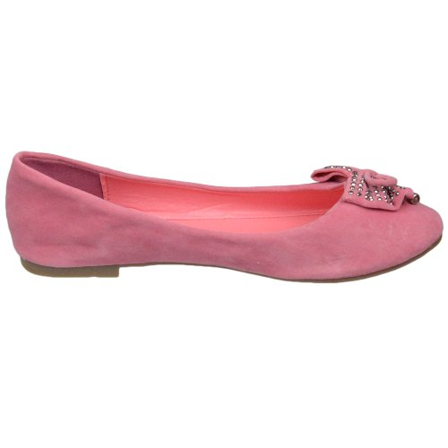 Womens Ballet Flats Schoenen Studded Bow Kwastje Accent Faux Suede Comfort Coral