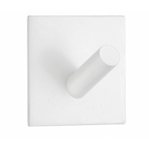 Beslagsboden Square Design Single Wall Mounted Hook Finish: White Matte Stainless Steel