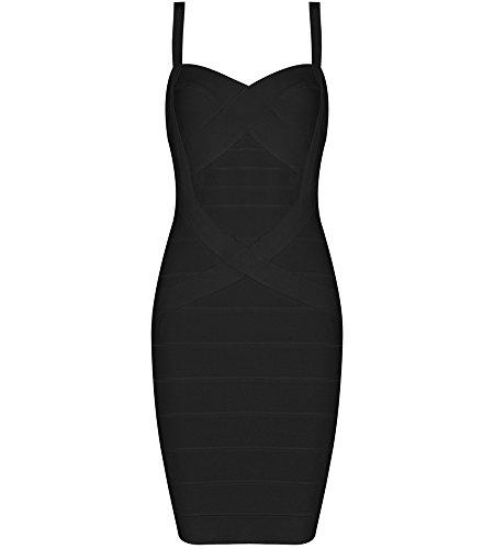 Bqueen Women's Spaghetti Strap Bodycon Bandage Dress BQ1636-1 (XL, Black)