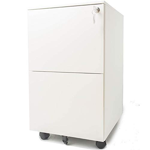 """Pemberly Row 15.4"""" Wide 2 Drawer Metal Mobile File Cabinet with Lockable Drawers and Wheels in White, Letter/Legal Size"""