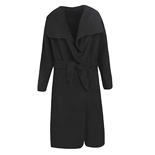 CHICFOR Womens Autumn and Winter Oversized Belted Long Trench Coat Wide Lapel Wrap Pea Overcoat (Black, 2XL)