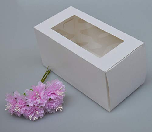 XLPD White Kraft Paper Box with Clear PVC Window 30Pcs Small Gift Candy Packaging Display Box Craft Cardboard Box Wedding Decoration White 8x8x12cm