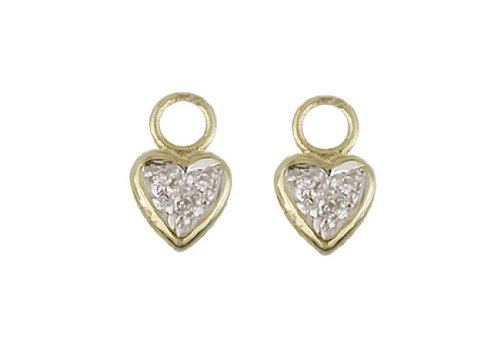 18KT Yellow Gold Diamonds Heart Charms 9mm//3mm Ring