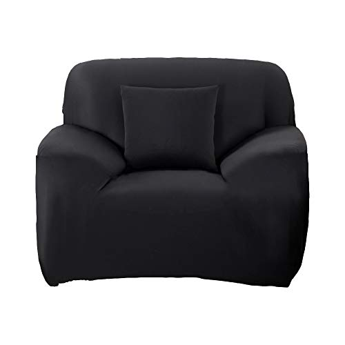 WOMACO Stretch Fabric Slipcover Pure Color 1 2 3 4 Seater Chair Loveseat Sofa Cover Anti-Mite Pet Dog Cat Protector (Chair, Black)