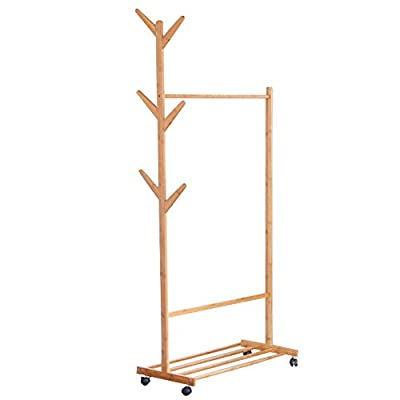 limam Multifuctional Bamboo Garment Laundry Rack with Shoe Clothes Storage Shelves Display Stand Hall Tree Removable-style Coat Rack (80x38x176cm) … - Product Material: For more than 5 years Mountain bamboo, after high-temperature high-pressure sterilization carbonization treatment, hard and strong, corrosion-resistant, wear-resistant, high temperature, not easy deformation, mildew-proof moth-resistant Solid Hanging clothing Rod: The whole frame is made of bamboo solid plate, and the top solid round rod is designed, which strengthens the load of the shelf and makes it more stable and safe. this standing coat rack is designed to be solid enough to handle your entire family's coats & jackets (up to 50lbs), but light enough to easily move anywhere; perfect for your living room, bedroom, hallway, office or dressing room Multi-Function Hooks: Designed with 6 hooks, can receive bags, umbrellas, hats, jackets - hall-trees, entryway-furniture-decor, entryway-laundry-room - 316al6rYrBL. SS400  -