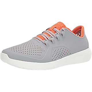Crocs Men's LiteRide Pacer Sneaker, Light Grey/Orange, 9 M US