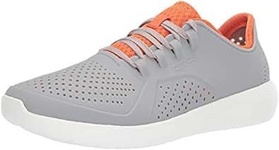 Crocs Men's LiteRide Pacer Sneaker, Light Grey/Orange, 4 M US