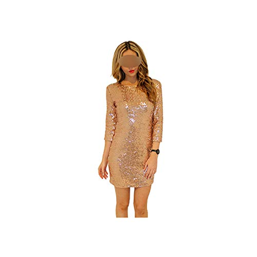 awret Spring Summer Style Dress Women O Neck Long Sleeve Paillette Sequins Backless Bodycon Slim Pencil Party Dresses,Gold,S ()