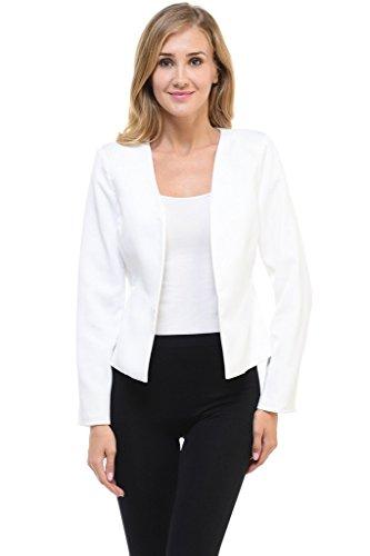 Auliné Collection Women's Candy Color Tailored Fit Open Suit Jacket Blazer Off White 2XL ()