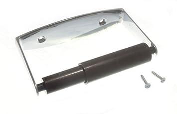 WC Portarrollos Metálica Cromada + Negro Sprung Roller y tornillos (2 juegos)