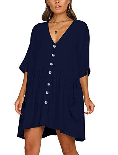 (BELONGSCI Women's Casual Dress Half Sleeve Button Down V-Neck Pocketed Loose T-Shirt Dress Oversized Dress Navy Blue)