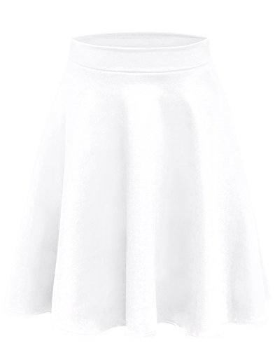 Simlu A Line Midi Skirt Flared and Pleated Midi Skirt for Women - Made in USA, White, Small