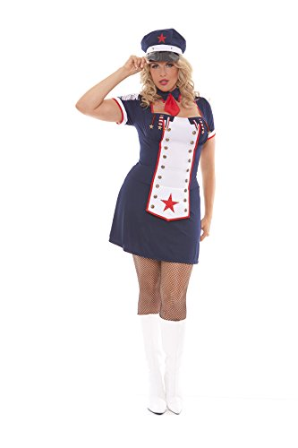 Sexy Women's Light Up Naval Knockout Nautical Adult Roleplay Costume, 3X/4X, Navy (Sexy Nautical Costume)