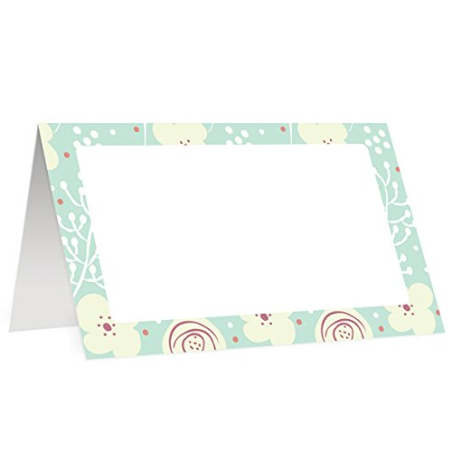 Baptism Place Cards (50 Pack) Mint Green Gender Neutral Table Tent Event Decor Sit Down Dinner Reception Party Blank Fill In Guest Name Baby Shower Birthday Assigned Seating 3.5 x 2 Digibuddha