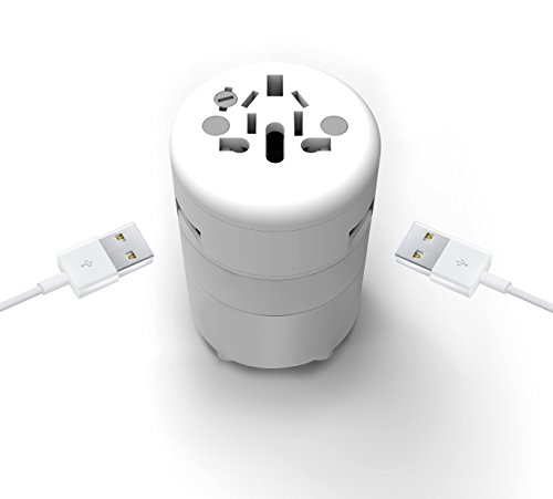 Oneadaptr Twist Duo World Charger   Worldwide Compatible Travel Power Adapter   Compact  High Speed Charging For 3 Usb Devices