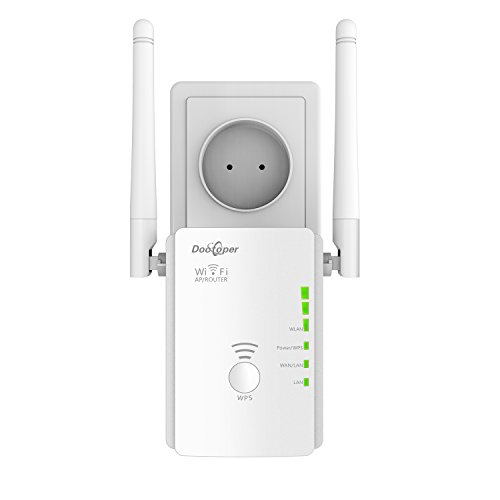 WiFi repeater Dootoper, signal amplifier/booster/range extedner for Easy Set Up(300 Mbit/s; 2 LAN ports, WPS, Compatible with all WiFi devices for US), white
